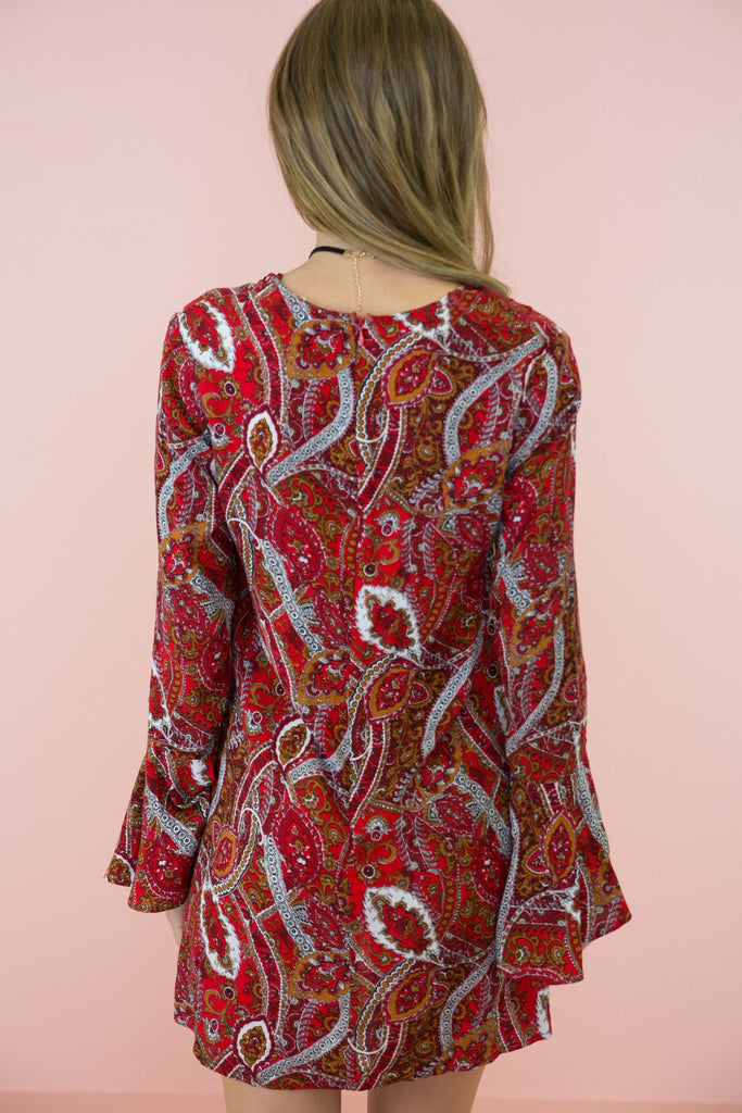 Giah Lace Up Paisley Print Dress