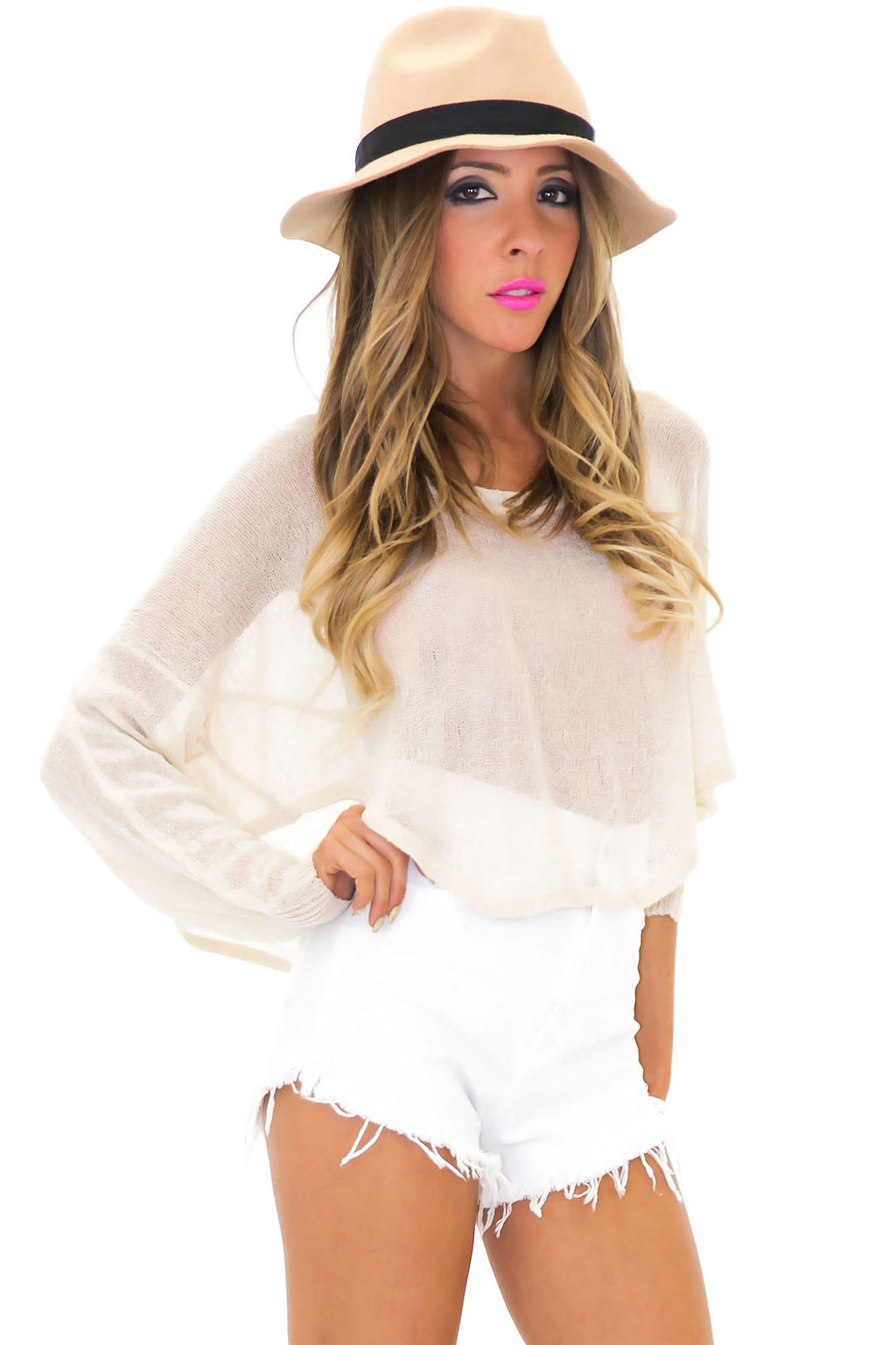 RECKFORD CROP SWEATER - Natural - Haute & Rebellious