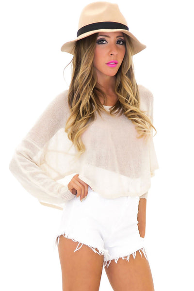 FLAT BRIM BANDED WOOL HAT - Tan - Haute & Rebellious