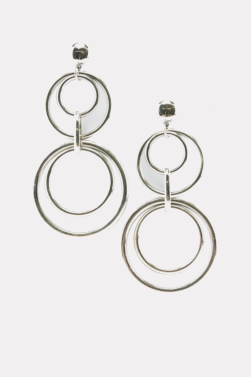 Multi Hoops Long Earrings - Silver