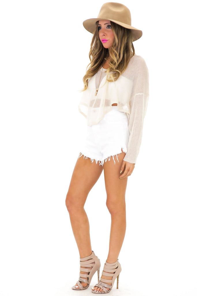 RECKFORD CROP SWEATER - Natural