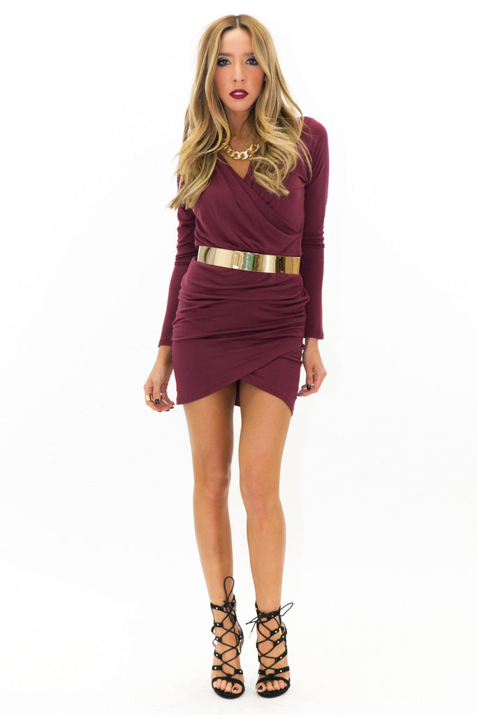 JANE DRAPED DRESS - Maroon