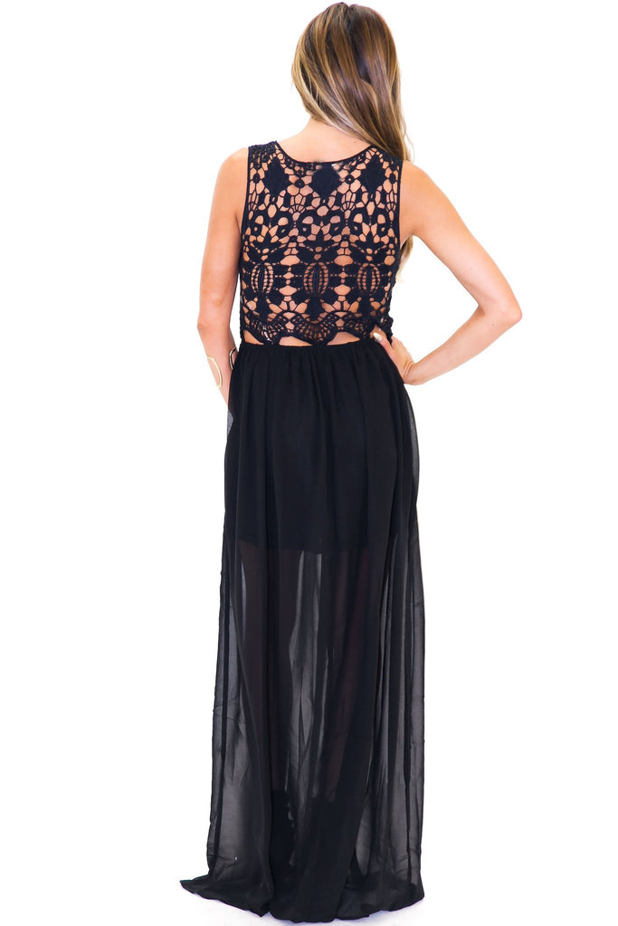 ISABELLA CROCHET CHIFFON DRESS - Black - Haute & Rebellious