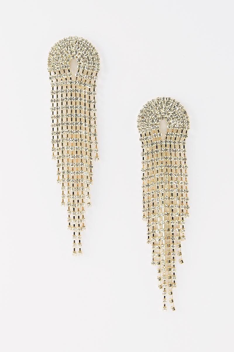 Long Crystal Fringe Earring - Gold
