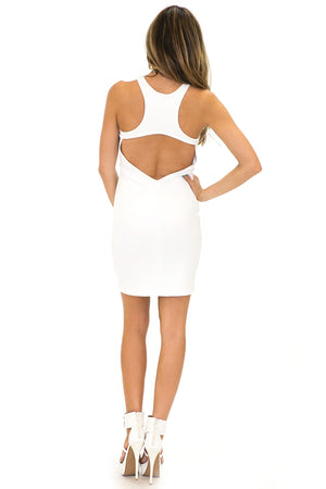 SCUBA SLEEVELESS BODYCON DRESS - White - Haute & Rebellious