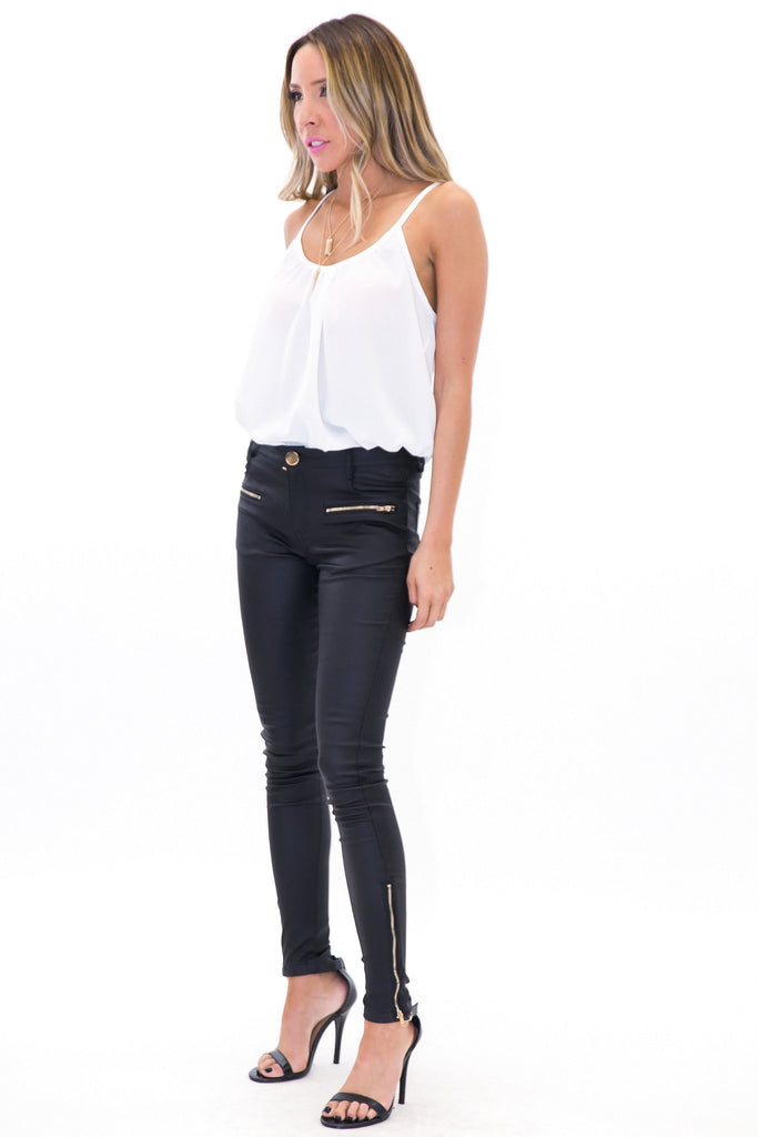 ENDER WAX ZIPPERED PANT - Black - Haute & Rebellious