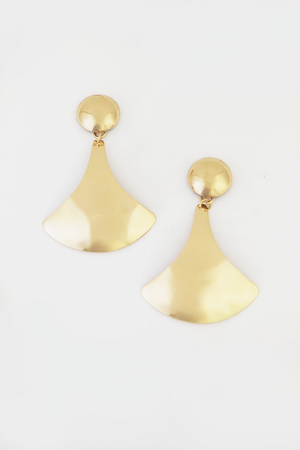 Shape Metal Plated Earring - Gold