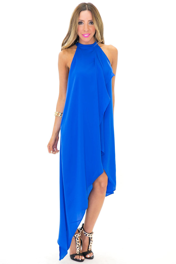 ARIANA RUFFLE DRAPE MIDI DRESS