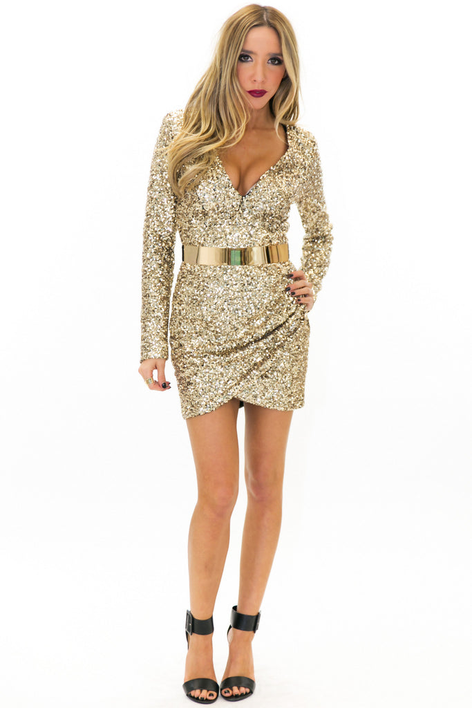 ZOE SEQUIN DRESS - Gold