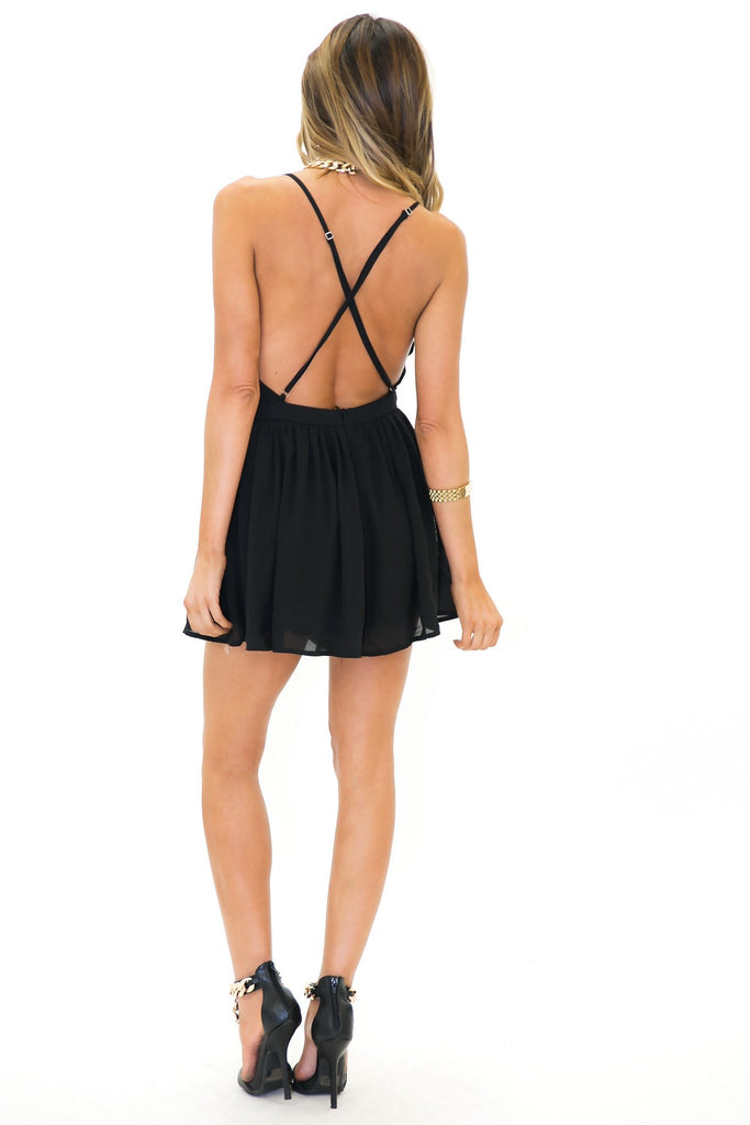 BECKA OPEN BACK FLAIR ROMPER