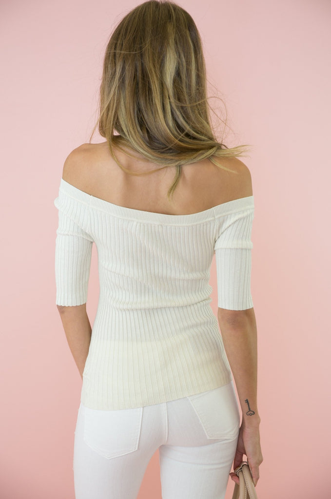 Damn Girl Off-Shoulder Ribbed Top - Ivory