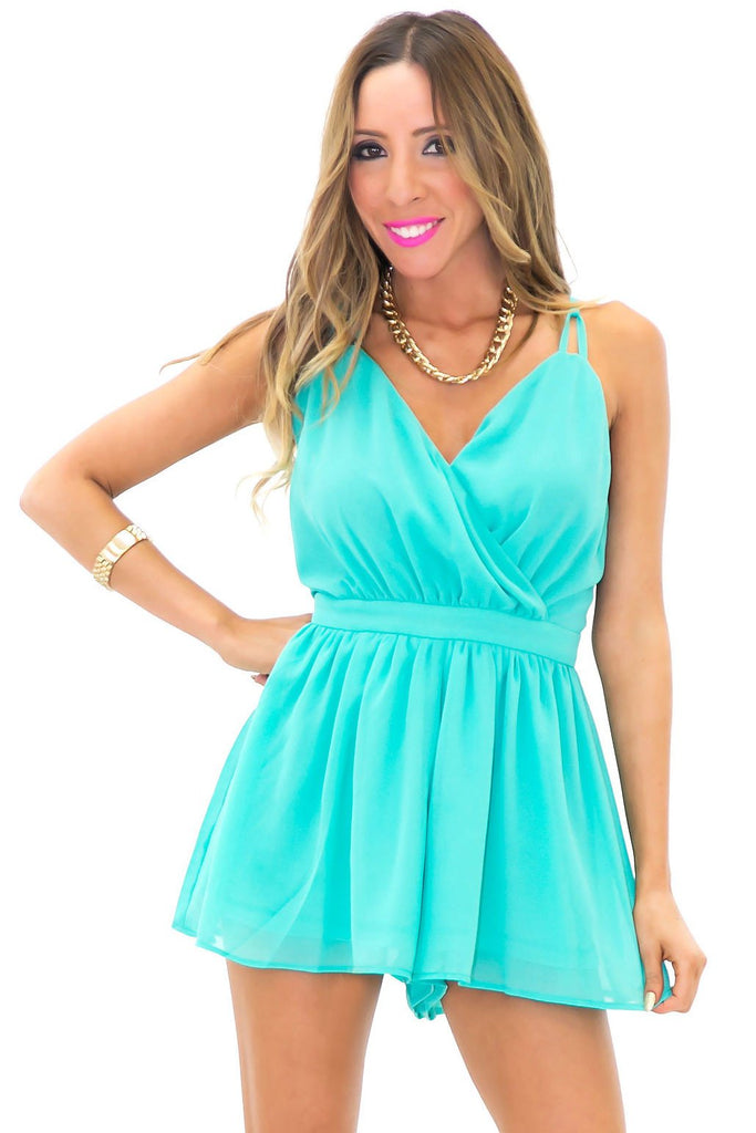 BECKA OPEN BACKF FLAIR ROMPER - Emerald