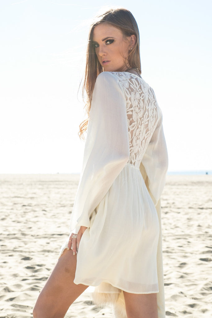 Ella Lace Back Dress - Ivory - Haute & Rebellious