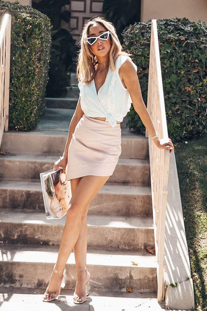 Asymmetric Leather Skirt - Pink