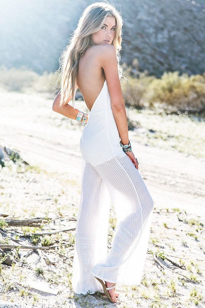 Maylan Knit Low V-Cut Jumpsuit - White