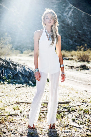 Maylan Knit Low V-Cut Jumpsuit - White - Haute & Rebellious