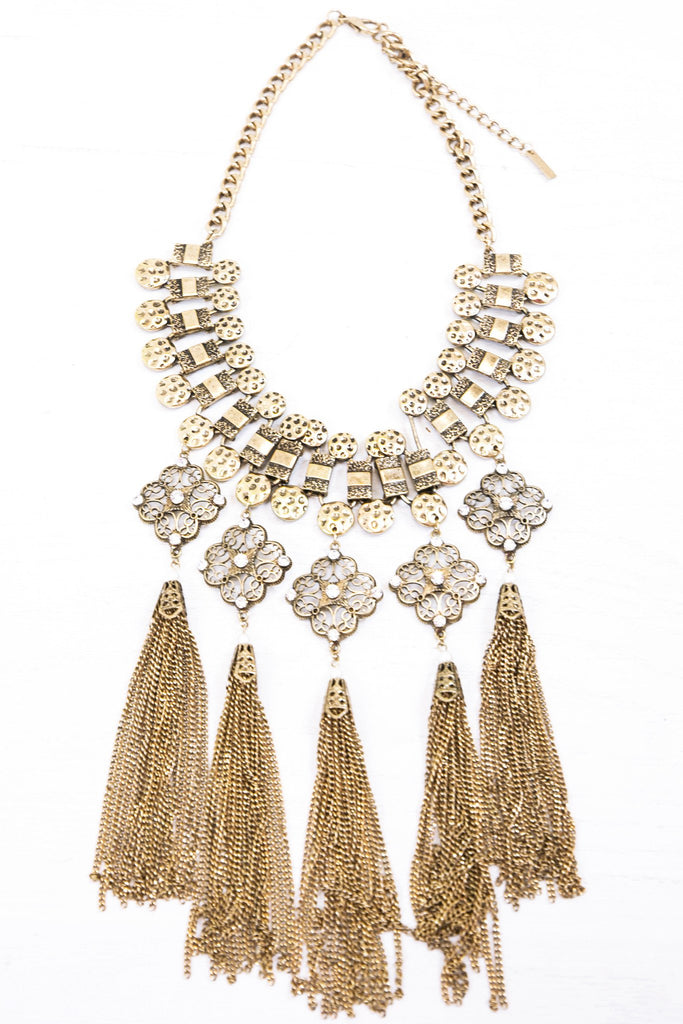 Dalia Fringe Necklace - Gold