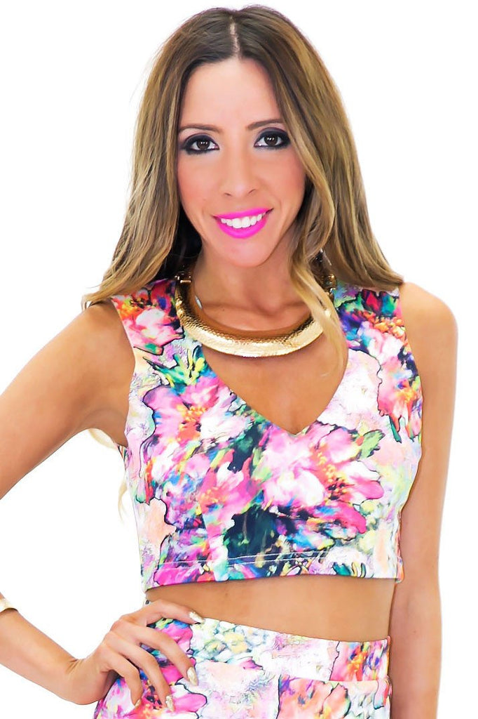 ANSHA WATERCOLOR CROP TANK