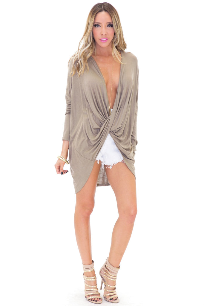 LEA CRISS CROSS LIGHT WEIGHT TOP - Mocha