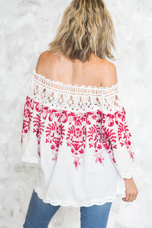 Off-Shoulder Embroidery Crochet Top - Haute & Rebellious