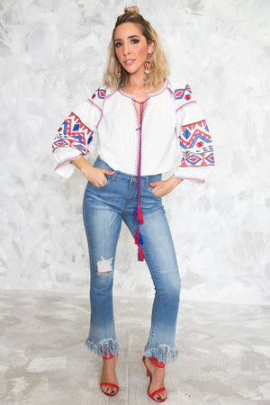 Embroidery Puff Sleeve Top - Haute & Rebellious