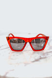 Reflective Square Cat Eye Sunglasses - Red