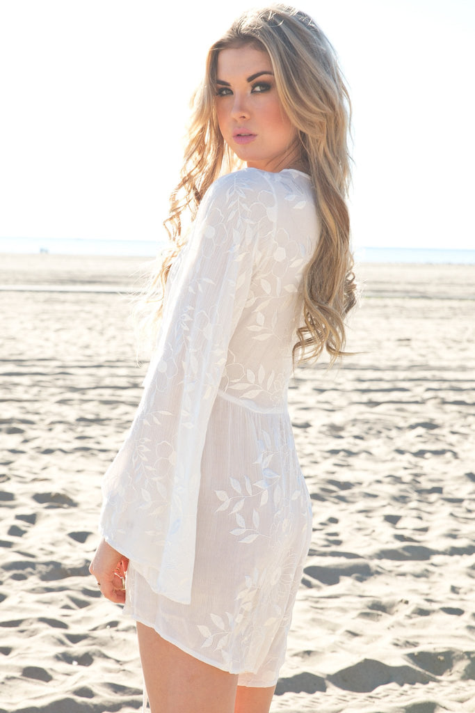 Embroidered Bell Sleeve Romper
