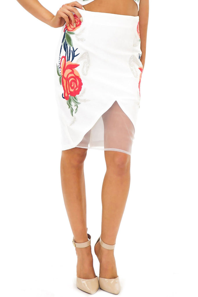 AIDA FLORAL EMBELLISHED PENCIL SKIRT - Haute & Rebellious