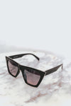 Reflective Square Cat Eye Sunglasses - Black