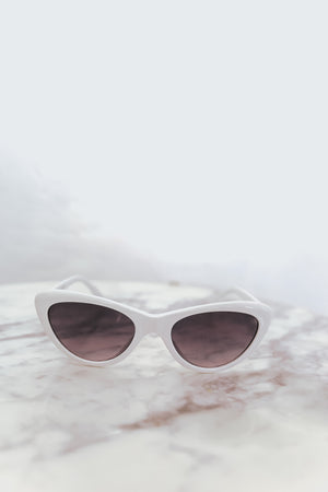 Cat-Eye Sunglasses - White