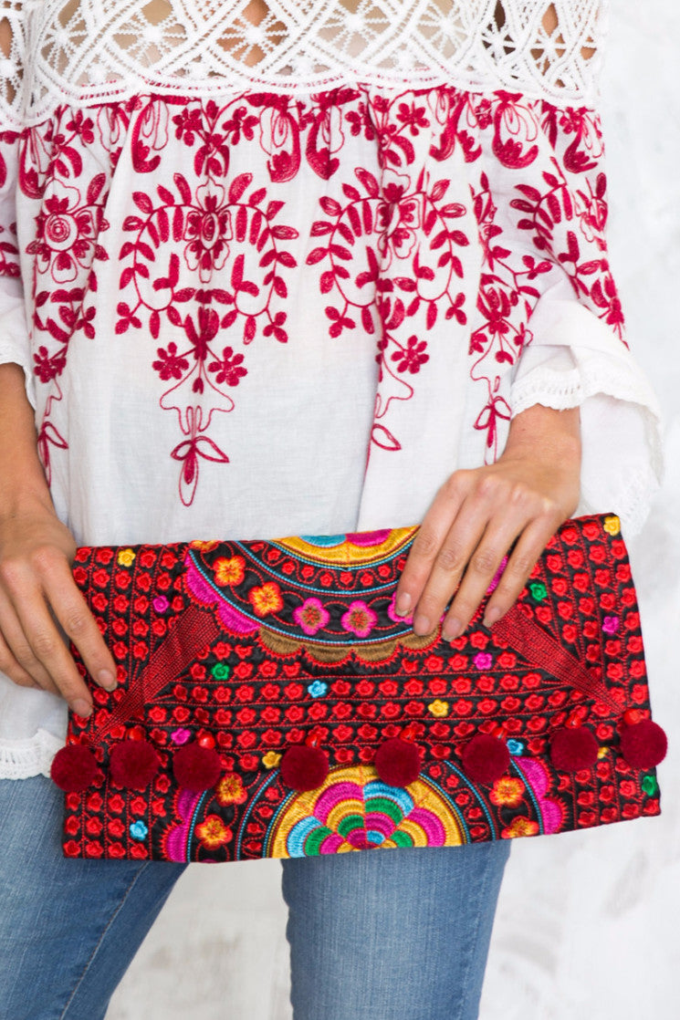 Tribal Pom-Pom Envelope Clutch - Red - Haute & Rebellious