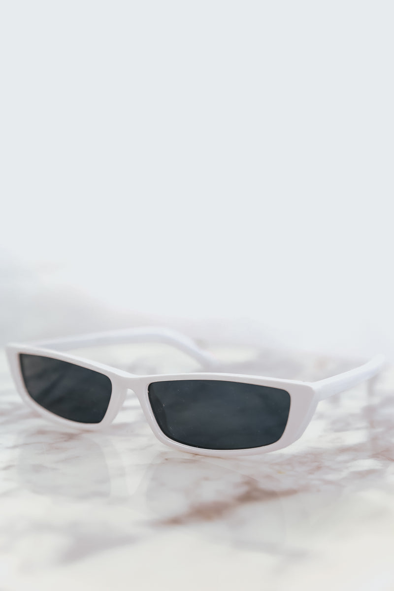 Rectangle Thin Sunglasses - White