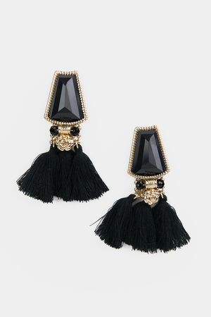 Stone Fringe Earrings - Black - Haute & Rebellious