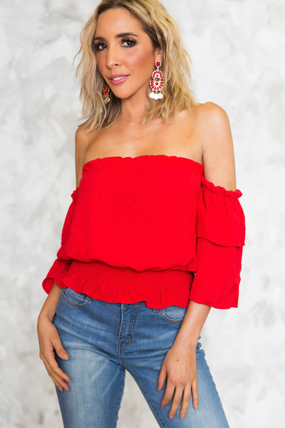 Off-Shoulder Ruffle-Sleeve Top - Red
