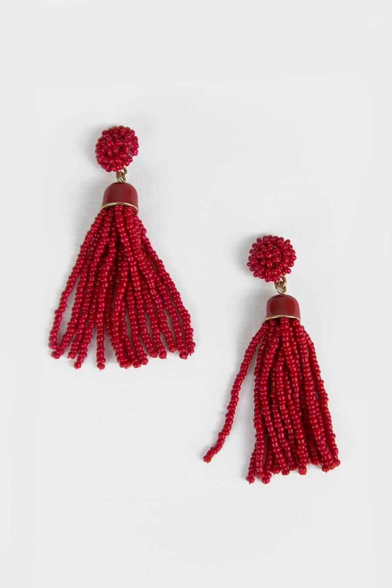 Beading Fringe Earrings - Red - Haute & Rebellious