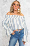 Off-Shoulder Striped Linen Top - Haute & Rebellious