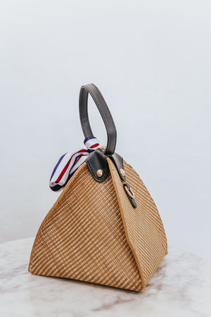 Geometric Handle Basket Bucket Bag