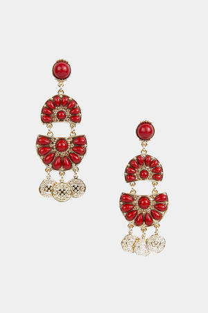 Red Stone Dangling Earring - Haute & Rebellious