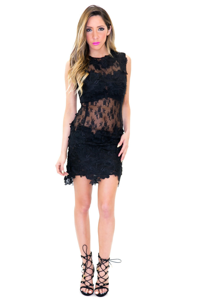 ISSA EMBROIDERED CONTRAST LACE DRESS - Black