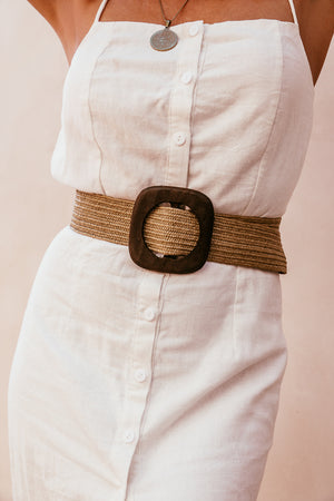 Straw Belt with Wood Buckle