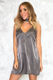 Private Party Satin Cami Dress - Charcoal Grey