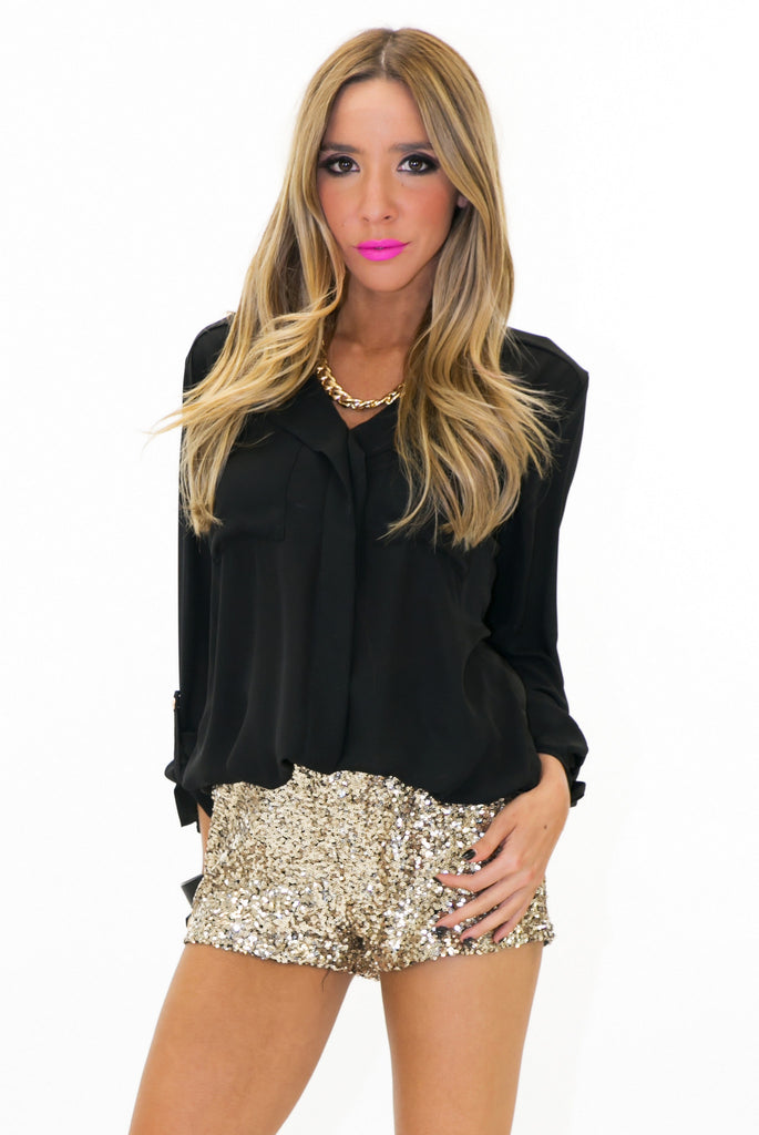 WAREN WAISTBAND SEQUIN SHORTS