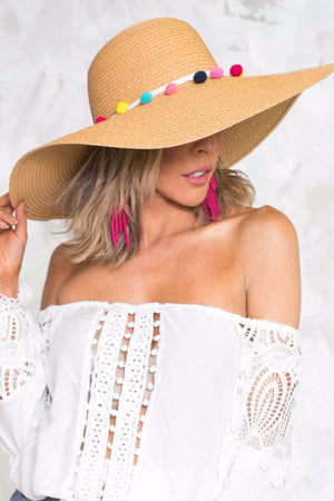 Pom-Pom Floppy Brim Straw Hat - Tan - Haute & Rebellious