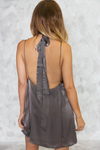 Private Party Satin Cami Dress - Charcoal Grey - Haute & Rebellious