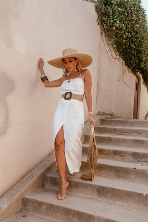 Button-Up Linen Maxi Dress