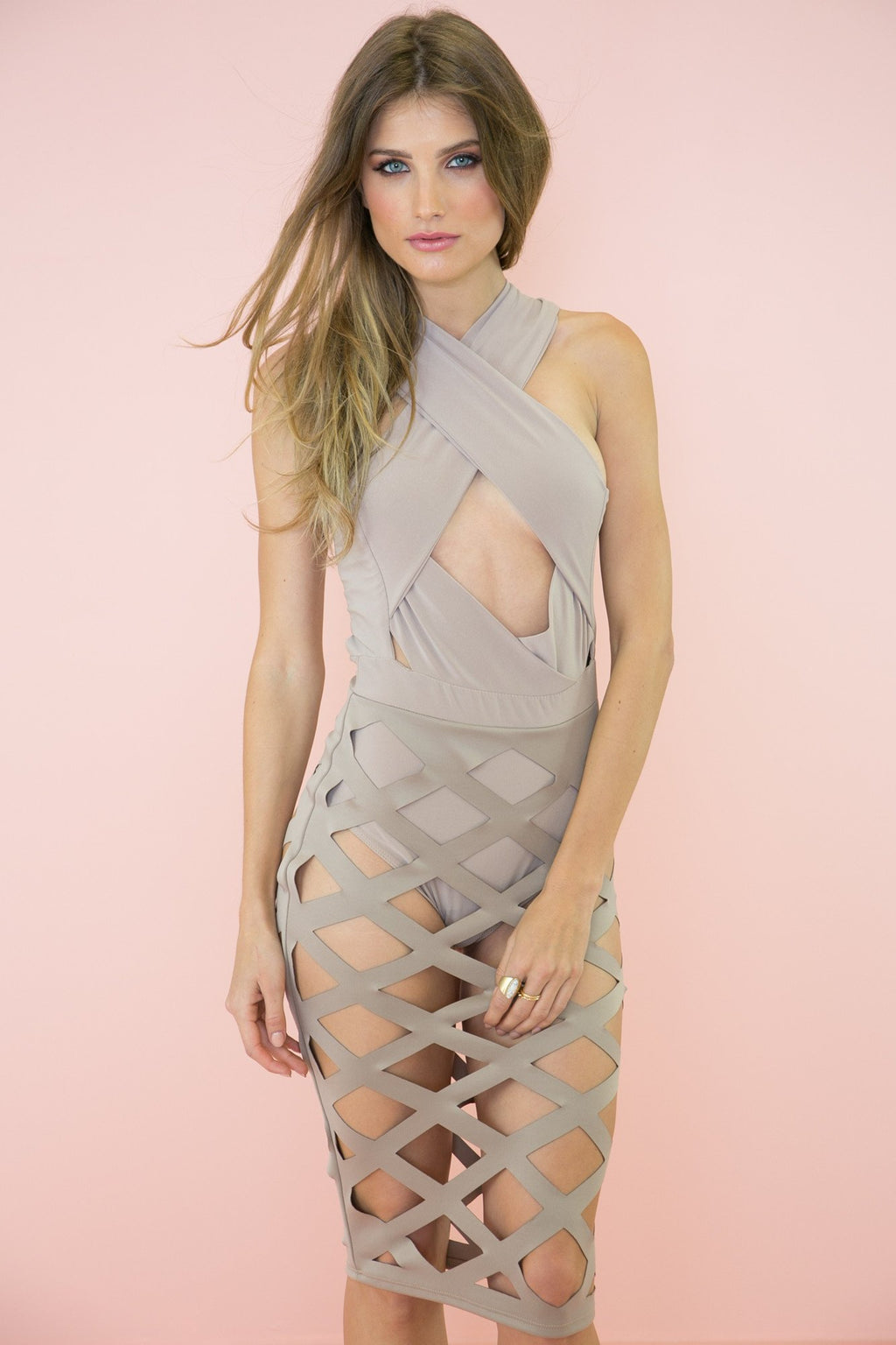 Karina Cutout Midi Dress - Taupe - Haute & Rebellious