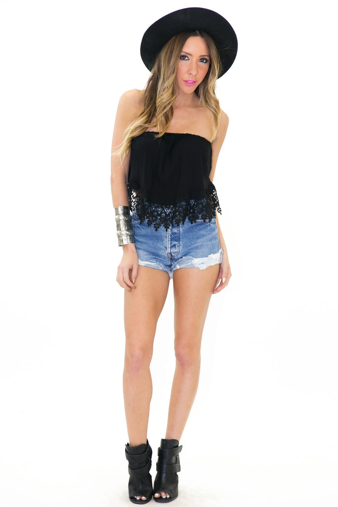 LANA ACCORDION LACE CROP TOP