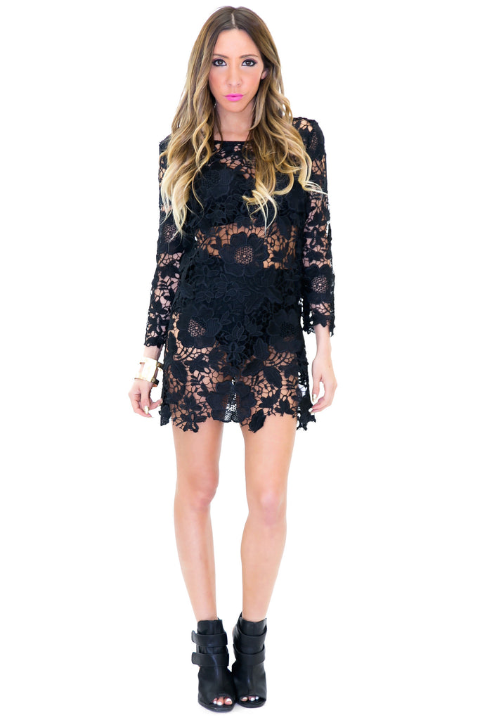 SENILLA CROCHET DRESS - Black