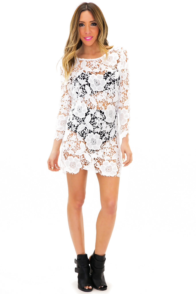 SENILLA CROCHET DRESS - White