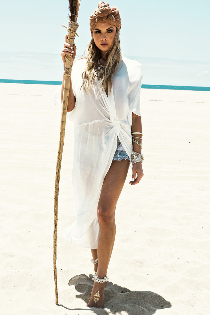 Sanah Wrap Cover Up - White - Haute & Rebellious